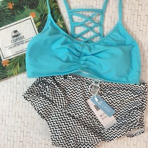 Cupshe High Rise Swimsuit Blue Size Medium